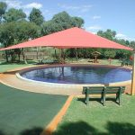 shade structure at water play park