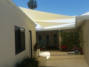 Shade Sails over courtyard